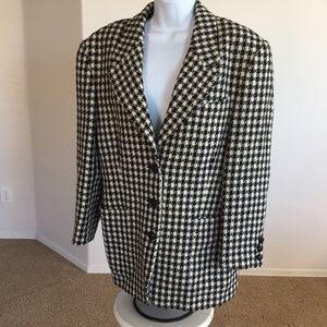 Houndstooth Wool Nlazer Jacket Made In Germany L